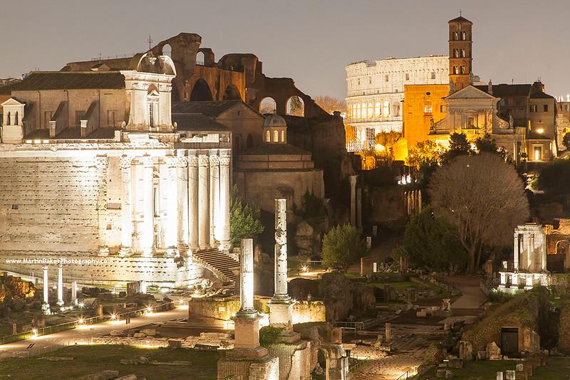 The Roman Forum and the Colosseum, Rome, Lazio, Italy.