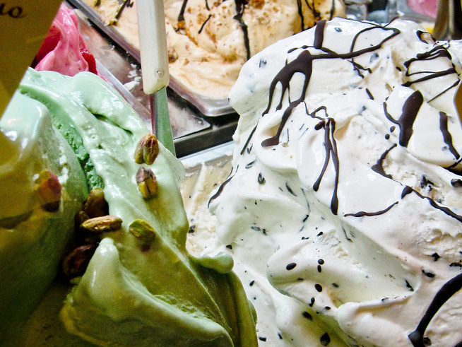 Pistacchio and stracciatella gelato -- two of my favorite flavors!
