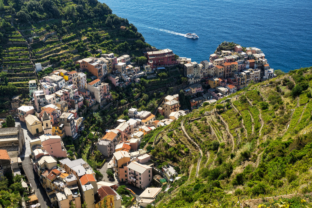 manarola from above with approaching ferry
