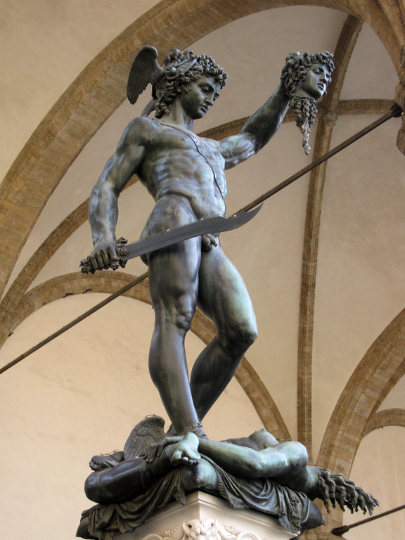 A traditional depiction of David slaying Goliath.
