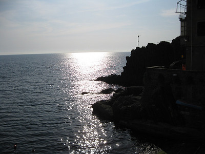 Sun Setting on the Ligurian Sea, Cinque Terrre, Italy