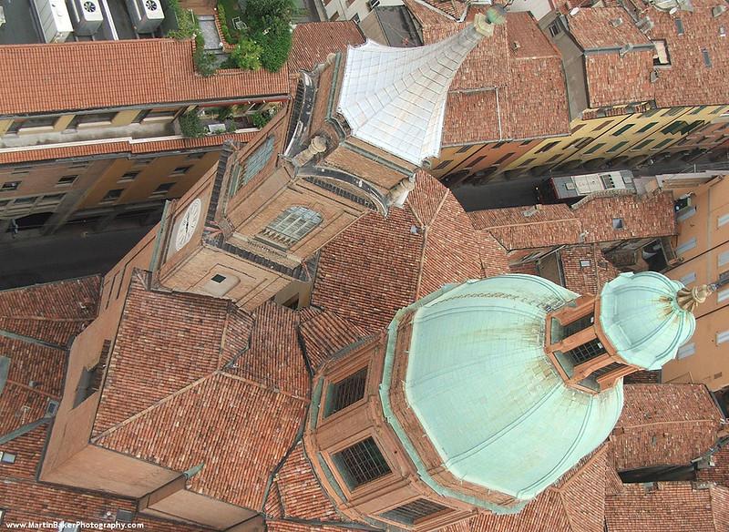 View from Torre Garisenda, Bologna, Emilia-Romagna, Italy.