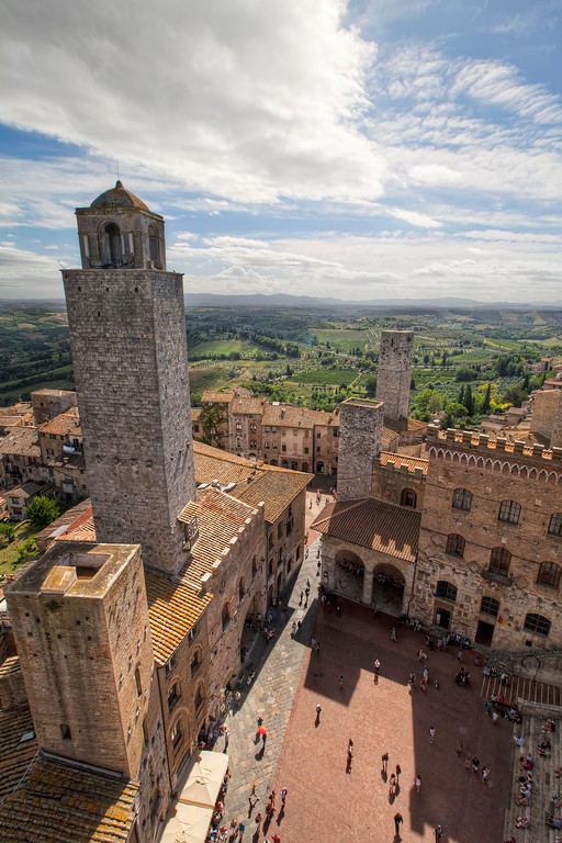 san gimignano square tower and tuscan countryside