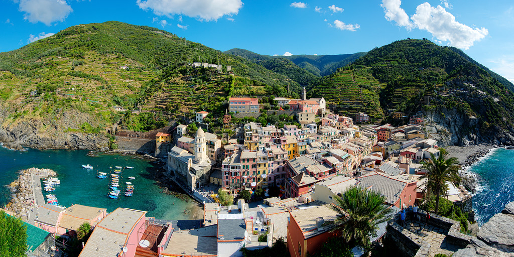 panorama of vernazza from on top of the castle