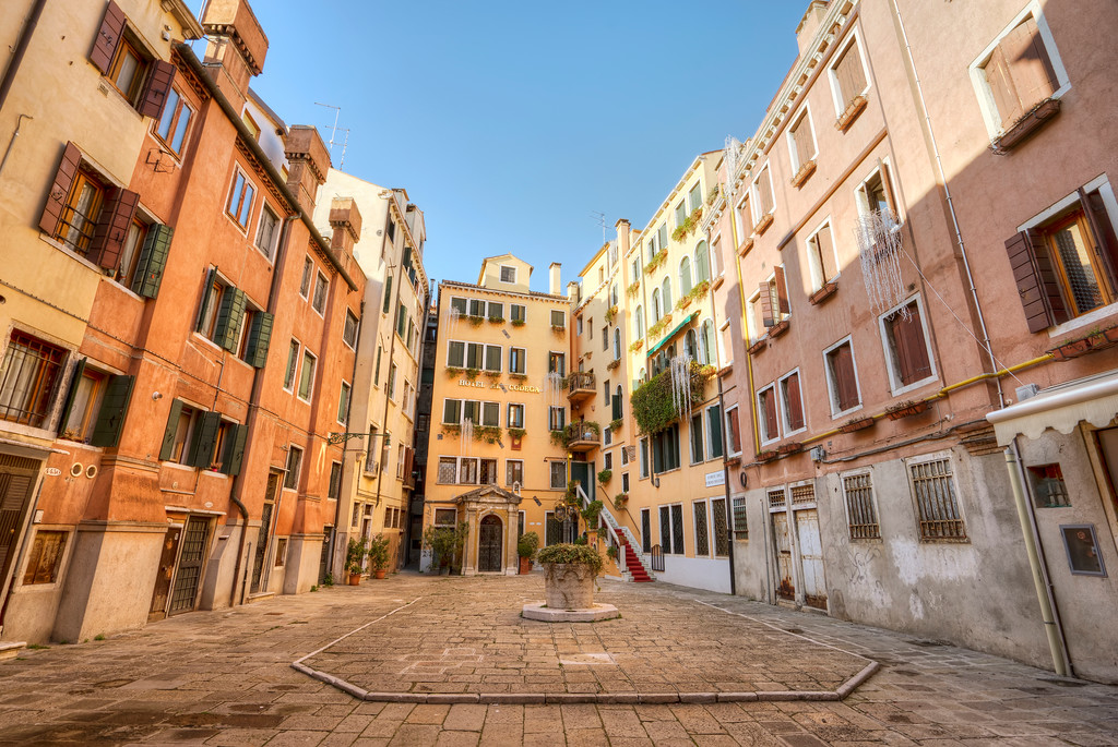 pretty residential piazza in venice italy hotel codega