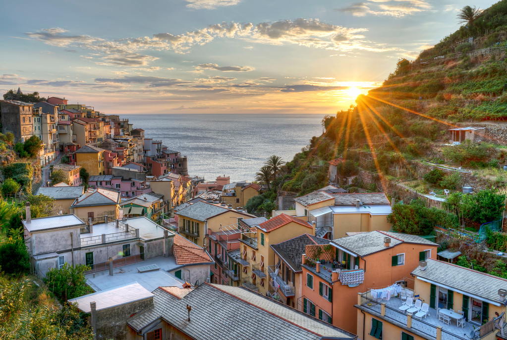 view from la toretta hotel at sunset in manarola cinque terre