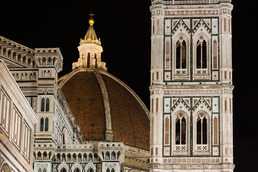 Night view of the dome of Florence Cathedral and Giotto's Bell Tower. Florence, Italy<br /> <br /> ITA-151126-0135