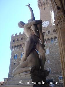 Florence - statue of the Rape of the Sabine Women by Giambologna in the Loggia dei Lanzi