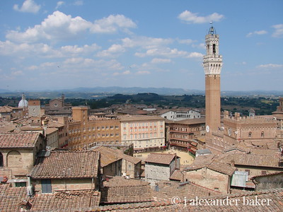 Siena, view of the Piazza del Compo from the unfinished nave of the Duomo.