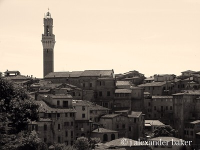 A view of Siena in B&W - same as next picture