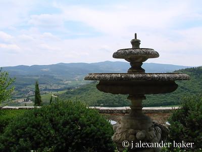 View from gardens at Castello Vicchiomaggio