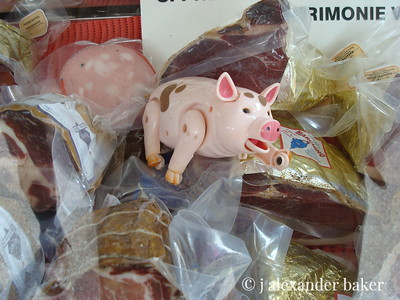 Pork products on market day in any Tuscan town.