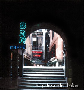 This shot of a little alleyway with it's neon signs and canal bridge  is a favorite of mine from Venice, not a very good slide scan.  I did what I could with it, but need to do a better scan and start over - some day.