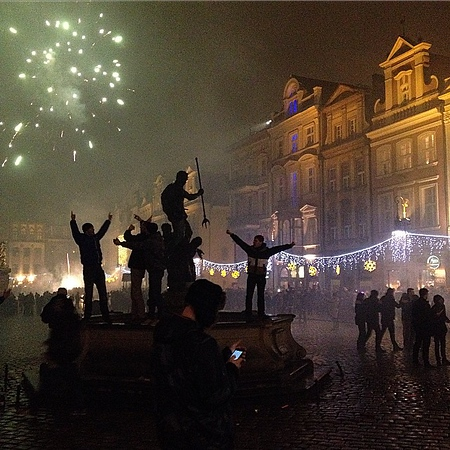 We Made It! 2015. Locals storm the monument on the main square, Old town Poznan, Poland. If you've never enjoyed a New Year's celebration in an Eastern European city, you must. Just choose one. They will buy the fireworks. There will be an official celebration and an unofficial one. It's the unofficial one that you must experience. And as New Years go, this was ideal. Explosive, but I kept most of my hearing and no cheap Russian champagne bottles exploded nearby. Do what needs doing, 2015! via Instagram http://ift.tt/1xw9YMY