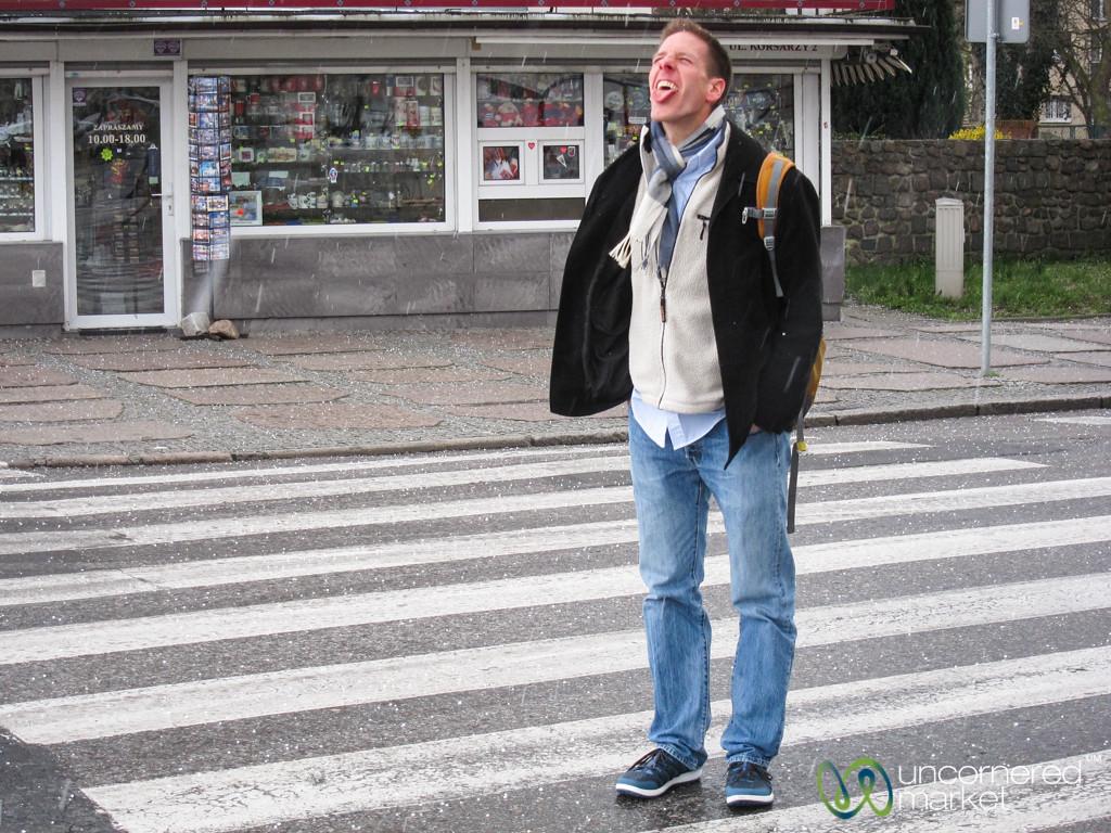 Dan catches snowflakes on his tongue - Szczecin, Poland