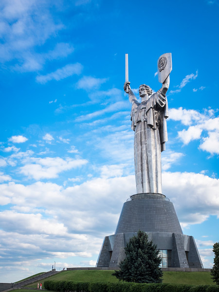 Motherland monument, Kyiv, Ukraine. The 62m tall statue weighs 560 tons and was inaugurated in 1981