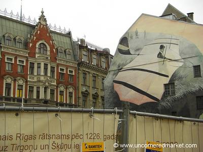 Street Art on Buildings - Riga, Latvia