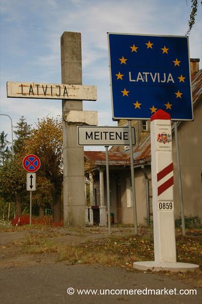 Latvia Border Sign