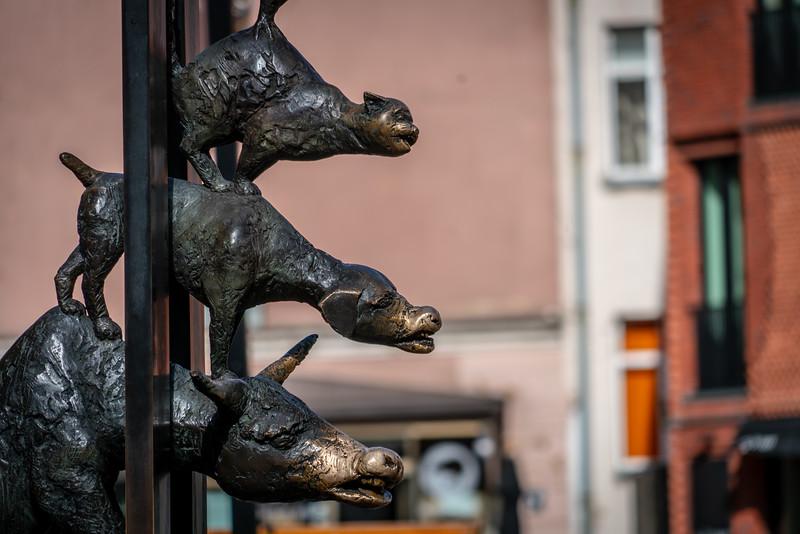 Bremen Town Musicians Statue in Riga, Latvia.