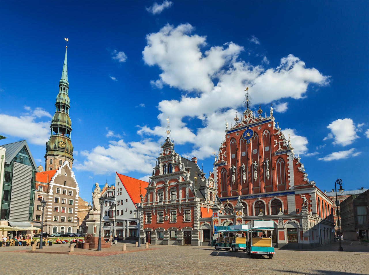 Riga Town Hall Square, House of the Blackheads and St. Peter's Church, Riga, Latvia