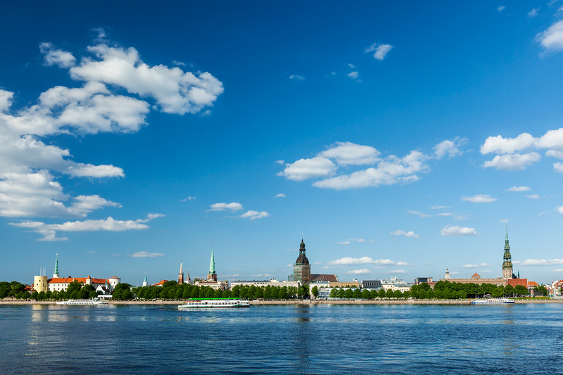 View of Riga over Daugava river: Riga Castle, St. James's Cathedral, Riga Cathedral, St. Peter's Church