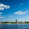 View of Riga over Daugava river: Riga Castle, St. James's Cathedral, Riga Cathedral, St. Peter's Church