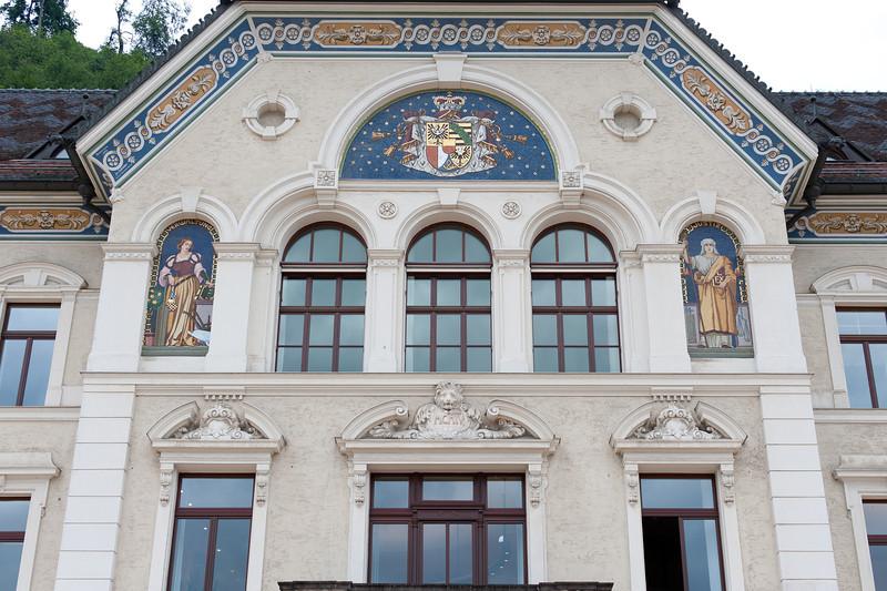 Government building facade in Vaduz, Liechtenstein