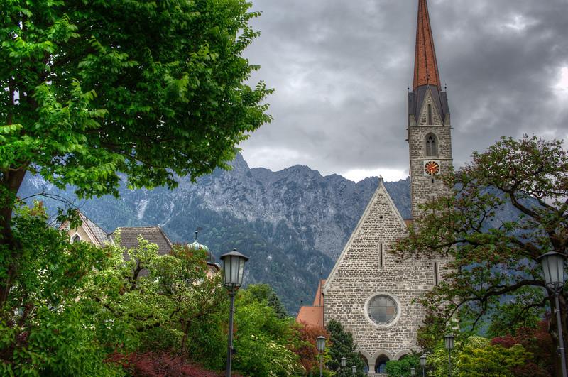 Wide shot of the view around Vaduz Cathedral in Liechtenstein