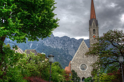 Wide shot of the view around Vaduz Cathedral in Liechtenstein