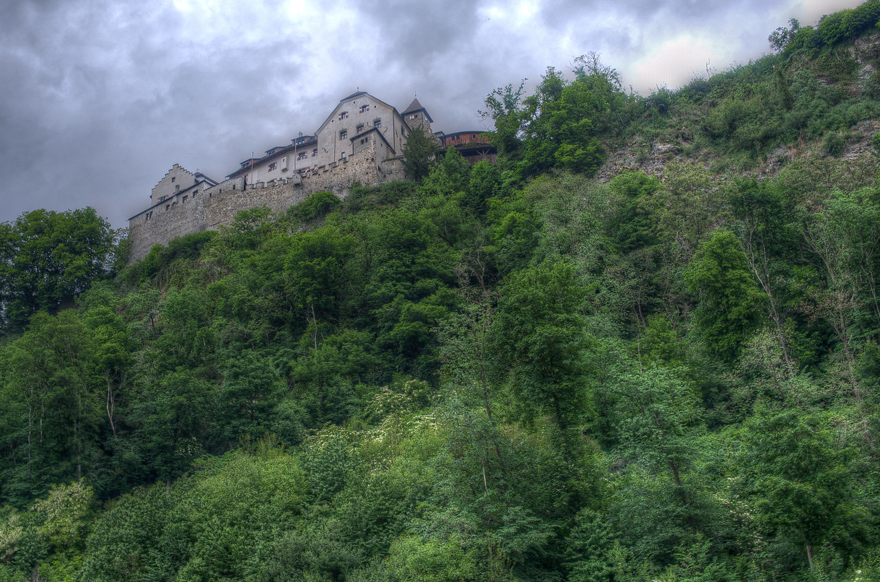 Looking up the Vaduz Castle atop the hill in Vaduz, Liechtenstein
