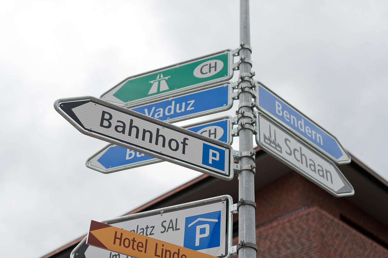 Street signs in Liechtenstein