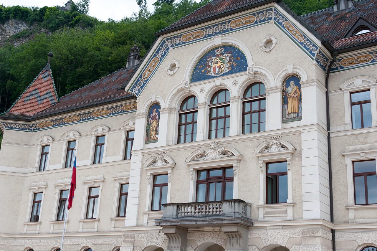 The government building and Vaduz Castle in Vaduz, Liechtenstein