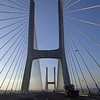 Crossing the Vasco da Gama bridge into Lisbon, Portugal