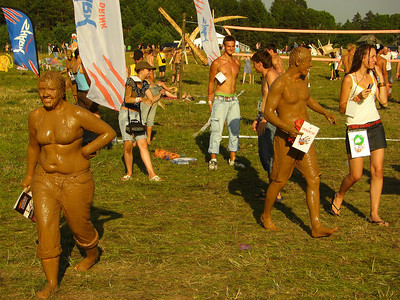 People Covered with Mud at b2gether Music Festival - Lithuania