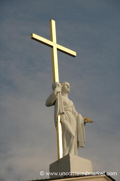 Statue atop Vilnius Cathedral - Vilnius, Lithuania