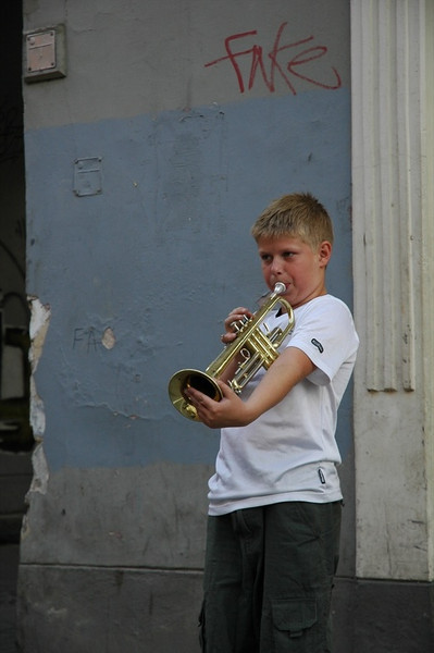 Boy Playing Trumpet - Vilnius, Lithuania