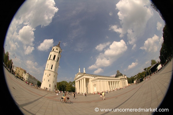 Cathedral Square in Fisheye - Vilnius, Lithuania