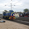 Plinthed Steam loco and TEM21 074 at Vilnius on the 15th October 2007.