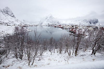 And yet an almost idyllic snow covered morning scene in Reine