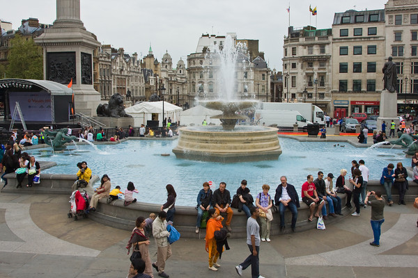 Fountain at Trafalgar Square, London, England