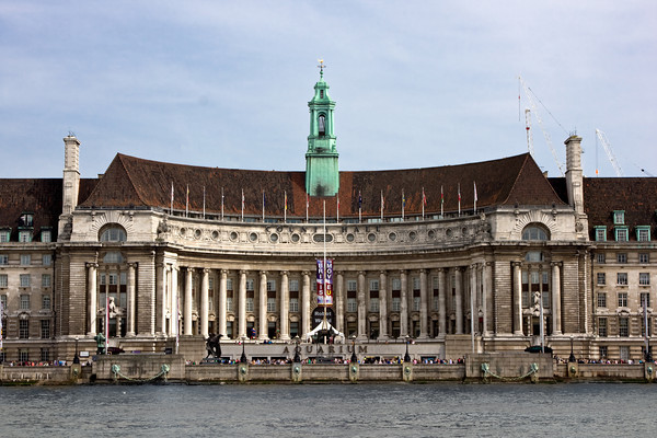 County Hall, on the Thames River, London, England