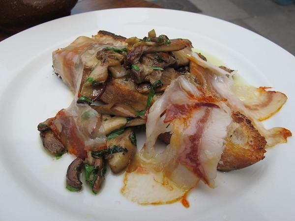 Moro: Pan fried porcini mushrooms with fino sherry and panceta Iberica on toast