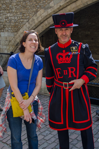 "A yeoman warder (""beefeater"") at the Tower of London"