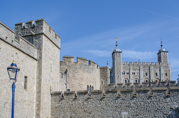 The fortress walls at the Tower of London