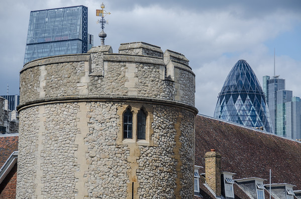 New and old juxtaposed, at the Tower of London