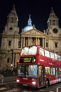 double-decker bus in front of St Paul's Cathedral