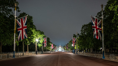 The Mall at night with Union Jacks