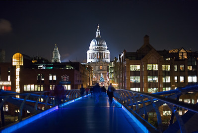 December view of St Paul's from Millennium Bridge
