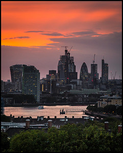 Sunset over the City from Greenwich