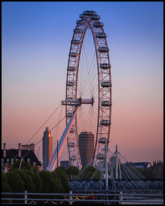 The London Eye at sunset from Waterloo Bridge